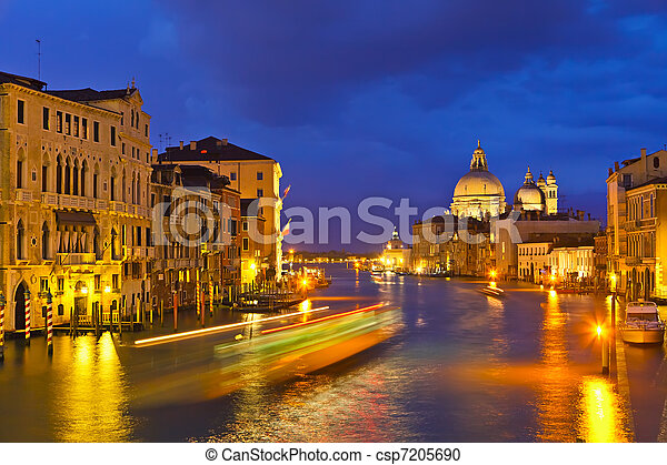 Grand canal at evening, Venice - csp7205690