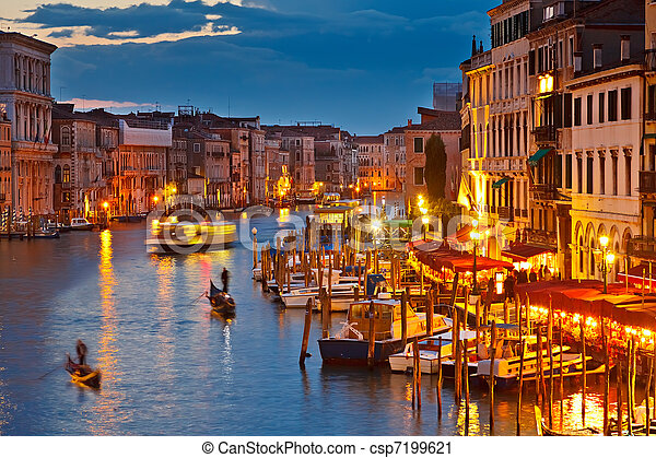 Grand Canal at night, Venice - csp7199621