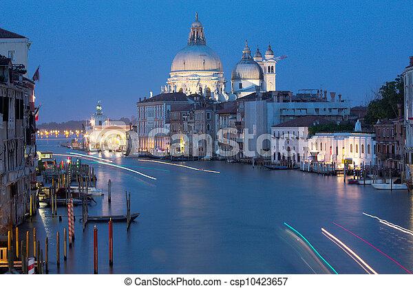 Grand Canal at night, Venice - csp10423657