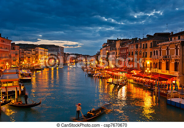Grand Canal at night, Venice - csp7670670