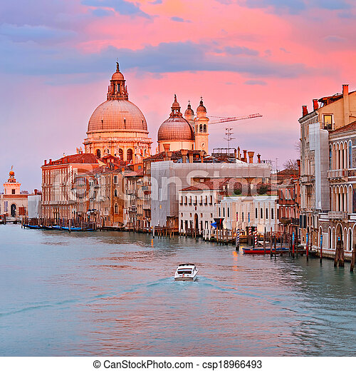 Grand Canal at sunset - csp18966493