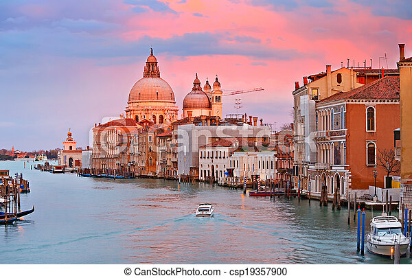 Grand Canal at sunset - csp19357900