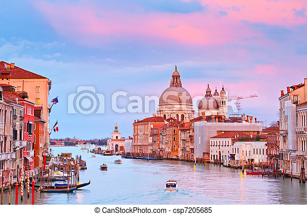 Grand canal at sunset, Venice - csp7205685