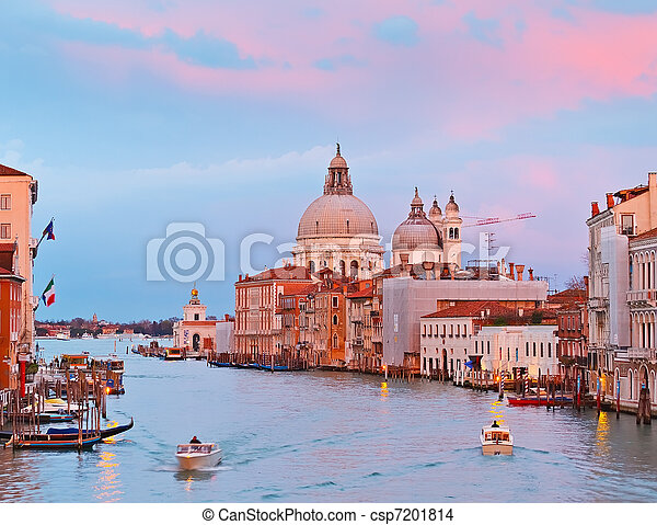Grand canal at sunset, Venice - csp7201814