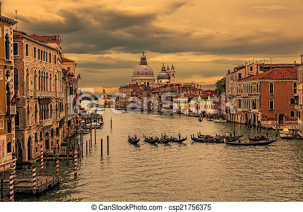 Grand Canal in Venice at sunset. (HDR image) - csp21756375