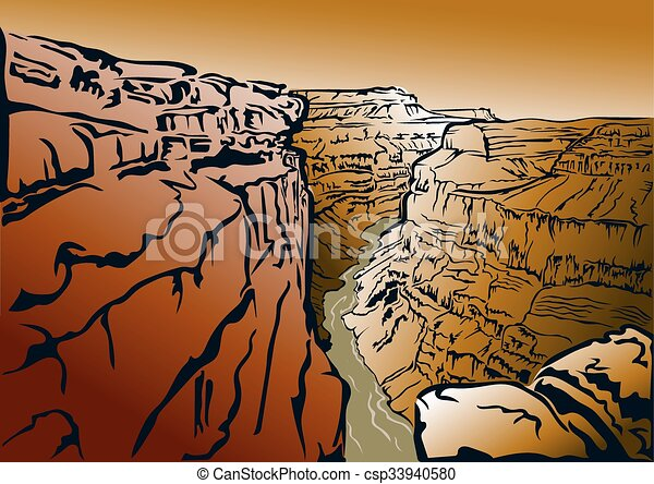panorama of the grand canyon and the colorado river rh canstockphoto com Grand Canyon Drawing Grand Canyon Drawing