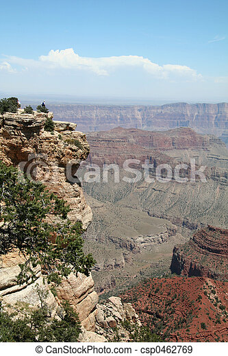 Grand Canyon Overlook with People on Ledge - csp0462769