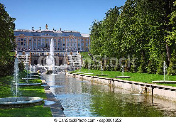 Grand Cascade Fountains at Peterhof Palace garden, St. Petersburg - csp8001652