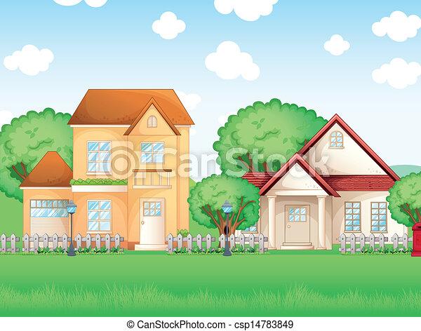 grand, deux, maisons - csp14783849