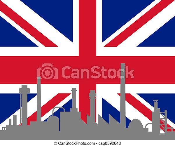 grand, drapeau, industrie, grande-bretagne - csp8592648