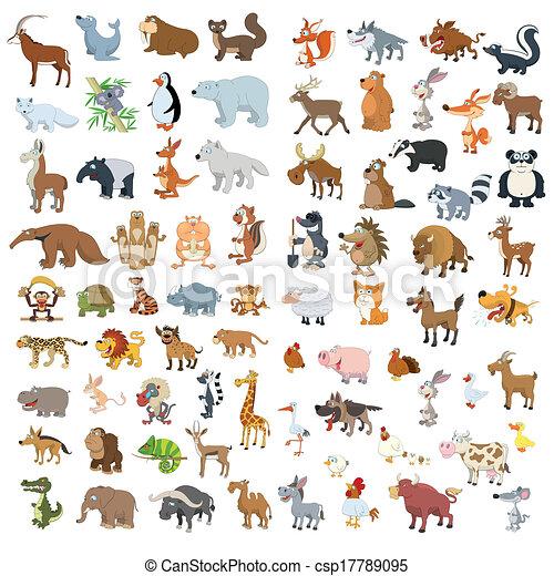 grand, ensemble, animaux, oiseaux, supplémentaire - csp17789095