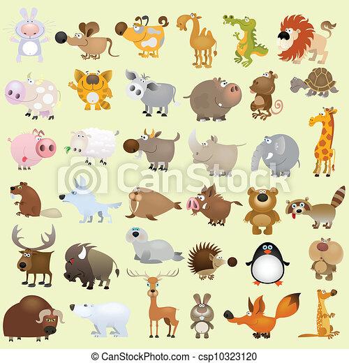 grand, ensemble, dessin animé, animal - csp10323120