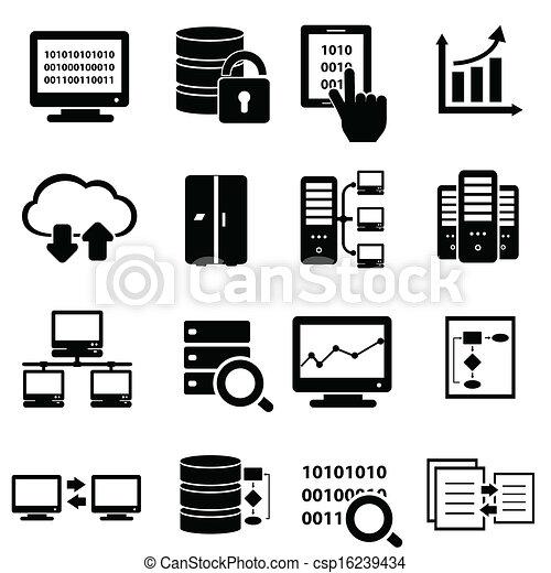 grand, ensemble, données, icône - csp16239434