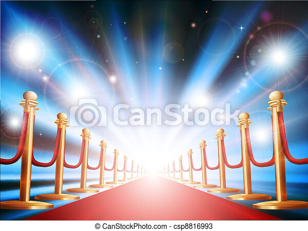 Grand entrance with red carpet and flash lights - csp8816993