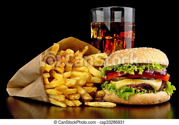 Grand frire cheeseburger francais verre bureau noir kola