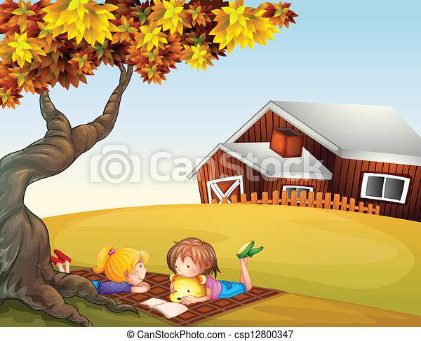 grand, gosses, arbre, lecture, sous - csp12800347