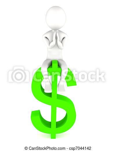 grand homme, dollar, adore, tridimensionnel - csp7044142