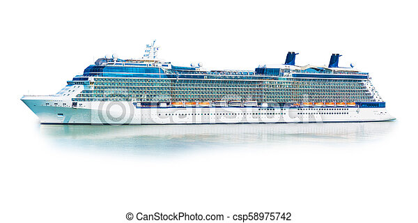 grand, isolé, paquebot, fond, croisière, ferry-boat, bateau, blanc - csp58975742