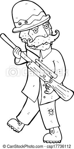 grand, jeu, chasseur, dessin animé - csp17736112