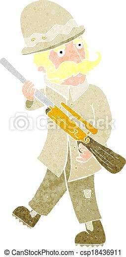 grand, jeu, chasseur, dessin animé - csp18436911