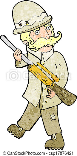 grand, jeu, chasseur, dessin animé - csp17876421
