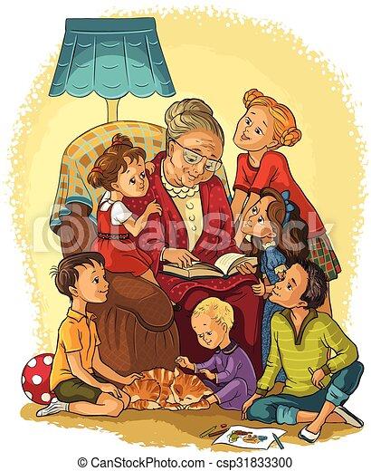 Grand m re enfants fauteuil disponible illustration esquiss aussi vecteur version - Dessin grand mere ...