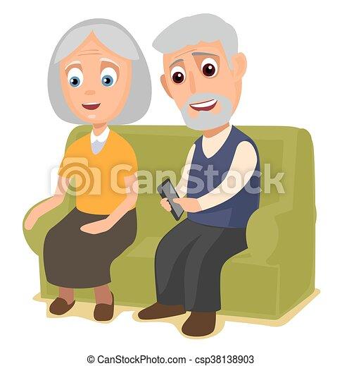 Grand m re grand p re sofa ensemble s ance plat s ance couleur sofa isol - Dessin grand pere ...