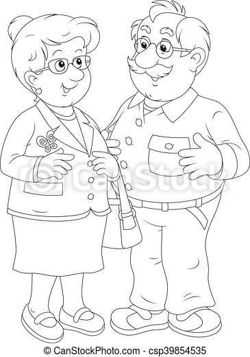 Grand m re grand p re debout femme ensemble white headed vecteur illustration sourire - Dessin grand pere ...