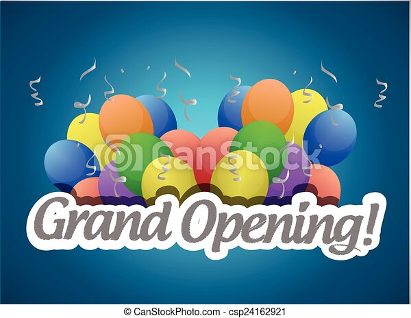 grand opening balloons card or sign - csp24162921