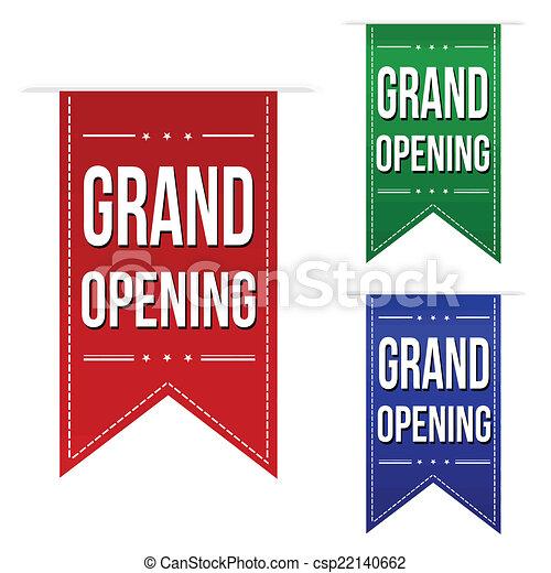 Grand opening banner design set - csp22140662