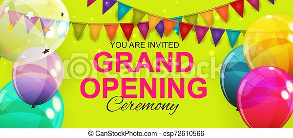 Grand Opening Card with Balloons Background. Vector Illustration - csp72610566