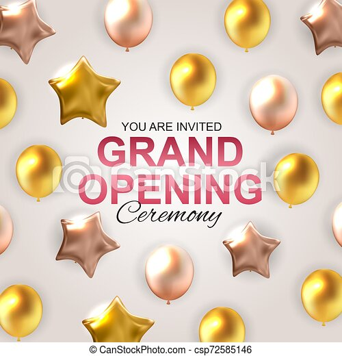 Grand Opening Card with Balloons Background. Vector Illustration - csp72585146