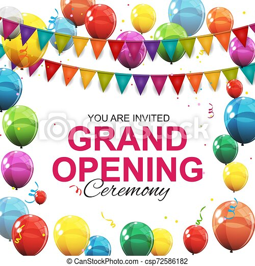 Grand Opening Card with Balloons Background. Vector Illustration - csp72586182