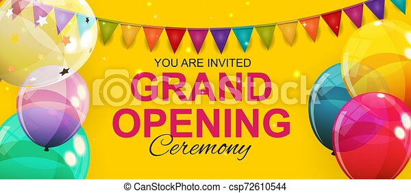 Grand Opening Card with Balloons Background. Vector Illustration - csp72610544