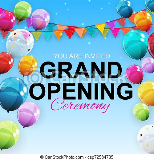 Grand Opening Card with Balloons Background. Vector Illustration - csp72584735