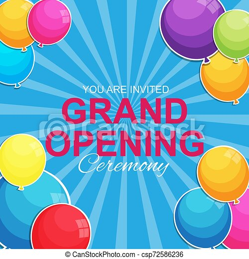 Grand Opening Card with Balloons Background. Vector Illustration - csp72586236