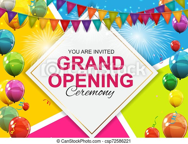 Grand Opening Card with Balloons Background. Vector Illustration - csp72586221