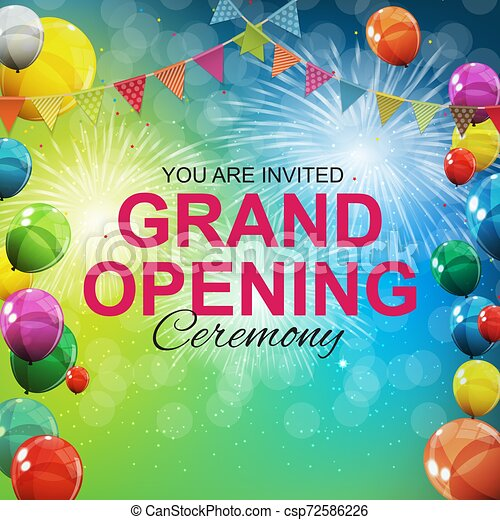Grand Opening Card with Balloons Background. Vector Illustration - csp72586226