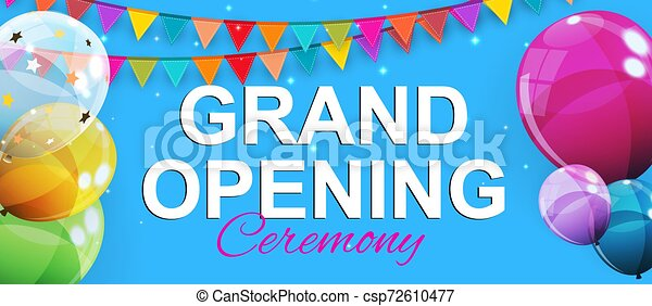 Grand Opening Card with Balloons Background. Vector Illustration - csp72610477