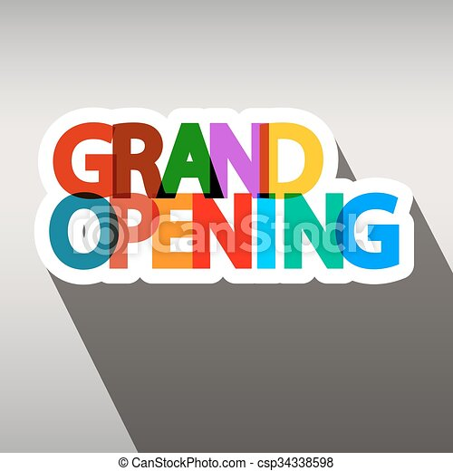 Grand Opening Colorful Paper Title  - csp34338598