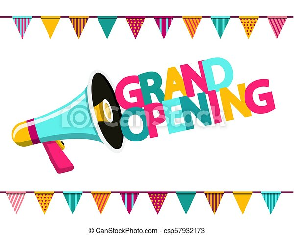 Grand Opening Colorful Text with Megaphone and Flags. Vector Flat Design Symbol on White Background. - csp57932173