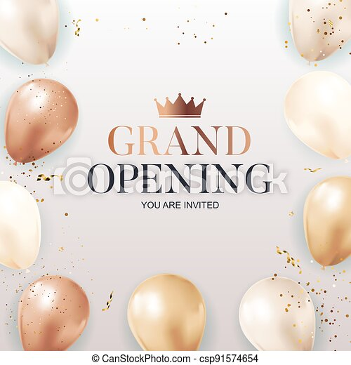 Grand Opening congratulation background card with balloons. Vector Illustration - csp91574654