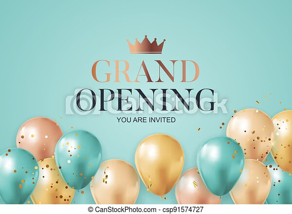 Grand Opening congratulation background card with balloons. Vector Illustration - csp91574727