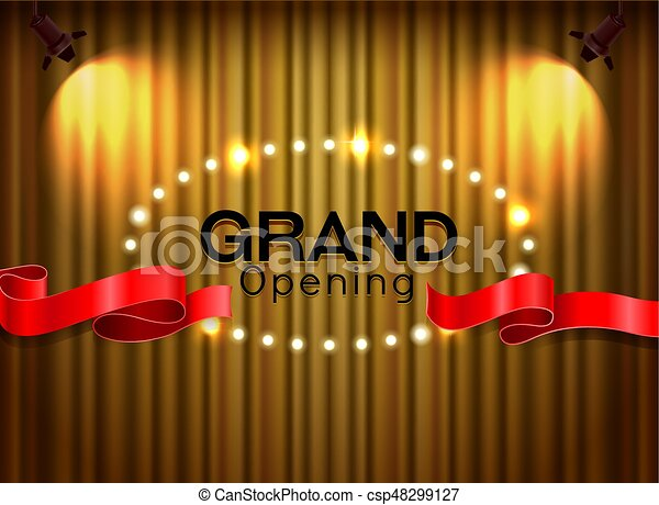 Grand opening cutting red ribbon on curtain with spot light background - csp48299127