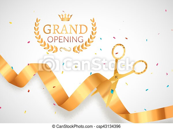 Grand opening invitation card grand opening event vector grand opening invitation banner golden ribbon cut ceremony event grand opening celebration card poster stopboris Images