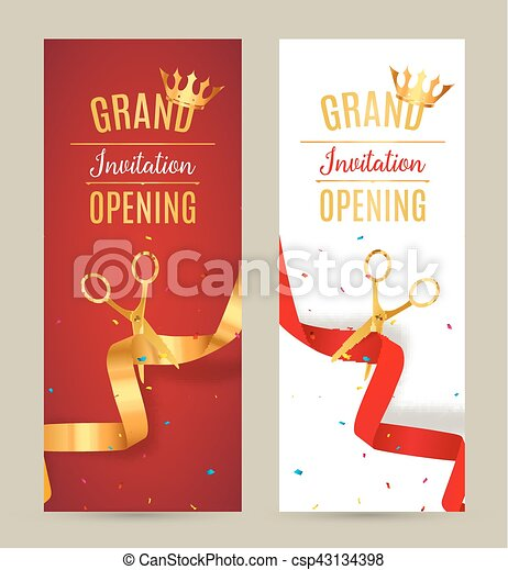 Grand Opening Invitation Banner Golden And Red Ribbon Cut Ceremony