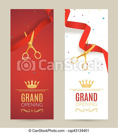 Grand opening invitation banner red ribbon cut ceremony vector grand opening invitation banner red ribbon cut ceremony event grand opening celebration card stopboris Images
