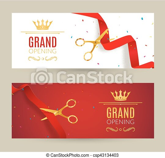 Grand Opening Invitation Banner Red Ribbon Cut Ceremony Event Grand Opening Celebration Card