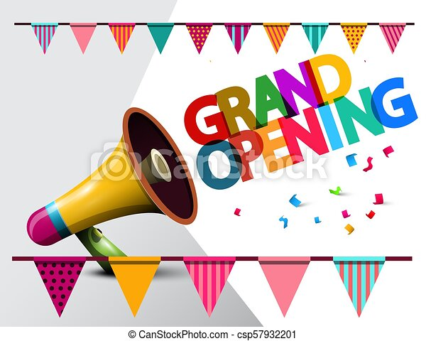 Grand Opening Megaphone Vector Illustration with Flags - csp57932201