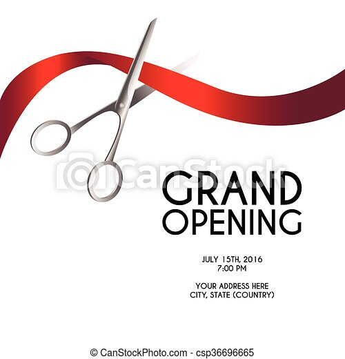 Grand opening poster mock-up with silver scissors cutting red ribbon isolated on white background, design announcement template. - csp36696665